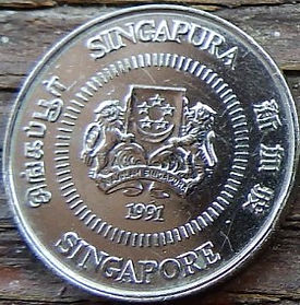 10 Центов, 1991 года, Сингапур, Монета, Монеты, 10 Ten Cents 1991, Singapore, Квітка, Жасмин мультифлорний, Flower, Jasminum multiflorum, Цветок, Жасмин мультифлорум на монете, Coat of arms of Singapore, Герб Сингапура на монете.
