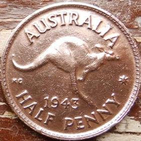 1/2 Пенни, 1943 года,Австралия, Монета, Монеты, HalfPenny 1943, Australia,Kangaroo,Кенгуру на монете, КорольGeorgivs VI,Георг VI на монете.