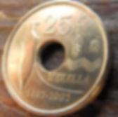 25 Песет, 1997 года, Испания, Монета, Монеты, 25Pesetas 1997, Espana,Spain, Melilla,Мелилья, Ваза, Міська рада,Palacio de la Asamblea,Муницыпалитет на монете,Монета с отверстием посередине.