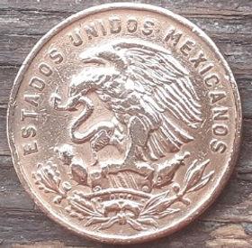 20 Сентаво, 1956 года,Мексика, Монета, Монеты, 20 Centavos 1956,Estados Unidos Mexicanos, Pre-Columbian city Teotihuacan, ДоколумбовойгородТеотиуаканна монете,Coat of arms of Mexico, Герб Мексикина монете.