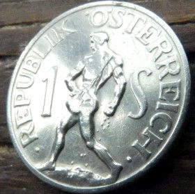 1 Шиллинг,1947 года,Австрия,Монета, Монети,Osterreich, 1 Shilling1947, Austria,Австрія,Sower, Сіяч,Сеятель на монете, Герб, Орел.
