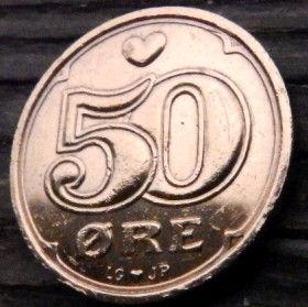 50 Эре, 2000 года, Дания, Монета, Монеты, 50Ore 2000, Danmark,Heart,Сердечко,Crown,Коронана монете.