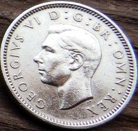 6 Пенсов, 1949 года,Великобритания, Монета, Монеты, Six Pence 1949, Корона, Crown,ВензельГеоргаVI , КорольGeorgivs VI,Георг VI на монете.