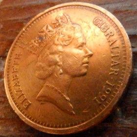 2 Пенса, 1991 года, Гибралтар, Монета, Монеты, 2 Two Pence 1991, Gibraltar,Sea view, Вид на море,Lighthouse, Маякна монете,Королева Elizabeth II, Елизавета IIна монете, Третийпортрет королевы.