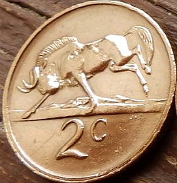 2 Цента, 1979 года, ЮАР,Монета, Монеты, 2 Cents1979,South Africa, Suid-Afrika, Фауна, Білохвостий гну, Fauna, White-tailed wildebeest, Фауна, Белохвостый гну на монете, Nicolaas Johannes Diederichs,Николаас Йоханнес Дидерихсна монете.