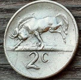 2 Цента, 1969 года, ЮАР,Монета, Монеты, 2 Cents1969,South Africa, Фауна, Білохвостий гну, Fauna, White-tailed wildebeest, Фауна, Белохвостый гну на монете, Jan van Riebeeck,Ян ван Рибекна монете.