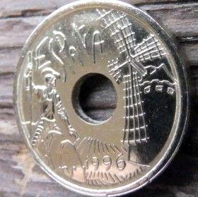 25 Песет, 1996 года, Испания, Монета, Монеты, 25Pesetas 1996, Espana,Spain,Castilla la Mancha,Кастилия-Ла-Манча,Стара будівля,Old building,Старое здание на монете, Вітряк, Windmill, Ветряная мельница на монете,Don Quixote, Дон Кихот на монете, Монета с отверстием посередине.