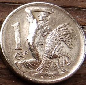 1 Крона, 1946 года,Чехословакия,Монета, Монеты,1 Krone1946, Republika Ceskoslovenska, Жінка,Woman,Женщина, Spikelets, Колоски, Sickle,Серпна монете,Coat of Arms, Герб,Fauna, Фауна,Lion, Левна монете.