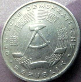 10 Пфеннигов,1965 года, ГДР, Германия, Німеччина,Монета, Монеты, 10 Pfennig 1965,DDR,Spikelets, Колоски,Hammer, Молоток на монете.