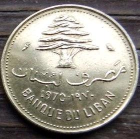 10 Пиастров, 1970 года, Ливан, Монета, Монеты, 10 Piastres 1970, Liban, Рослинний орнамент, Floral ornament, Растительный орнаментна монете,Cedar tree, Дерево Кедр на монете.