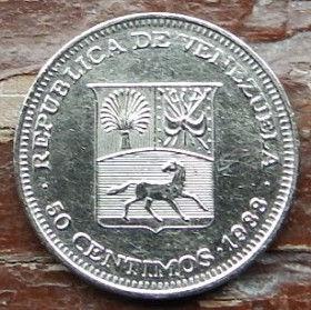 50 Сентимов,1988 года, Венесуэла, Монета, Монеты, 50 Centimos 1988, Republica de Venezuela,Coat of arms of Venezuela,Герб Венесуэлына монете,SimonBolivar,Симон Боливарна монете.