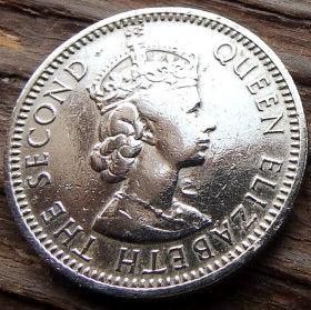 25 Милс, 1955 года, Кипр, Монета, Монеты, 25 Twenty Five Mils 1955, Cyprus, Bull,Быкна монете,Королева Elizabeth II, Елизавета IIна монете.