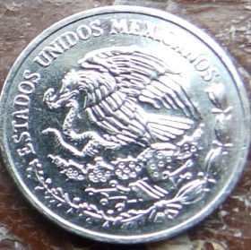 10 Сентаво, 1997 года, Мексика, Монета, Монеты, 10 Centavos 1997, Estados Unidos Mexicanos, Coat of arms of Mexico, Герб Мексики на монете.