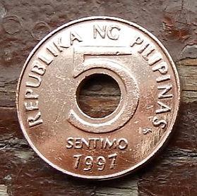 5 Сентимов, 1997 года, Филиппины,Монета, Монеты, 5Sentimo1997, Republika ng Pilipinas.