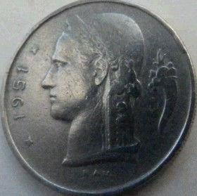 1 Франк, 1951 года, Королевство Бельгия, Монета, Монеты, 1 Franc 1951, Belgium, Belgique, Belgie, Корона, Crown,Рослинний орнамент,растительный орнамент,floral ornament, жінка,woman, женщина на монете.