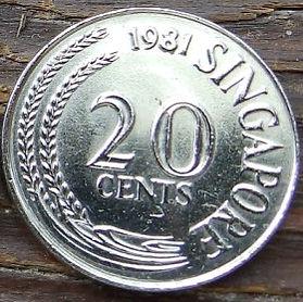 20 Центов, 1981 года, Сингапур, Монета, Монеты, 20 Cents 1981, Singapore, Flora, Spikelets, Флора, Колоски на монете, Риба-меч, Swordfish, Меч-рыба на монете.