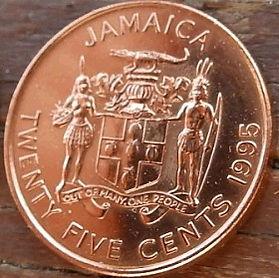 25 Центов, 1995 года, Ямайка, Монета, Монеты, 25 Twenty FiveCents 1995, Jamaica,Coat of arms ofJamaica, Герб Ямайкина монете, Marcus Garvey,Маркус Гарвина монете.