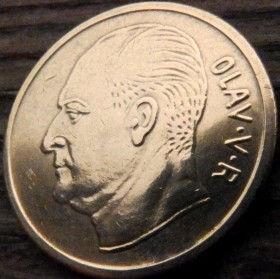 5 Эре, 1970 года, Норвегия, Монета, Монеты, 5 Ore 1970, Norge,Fauna, Фауна,Moose,Лосьна монете, Король ОлафV на монете.
