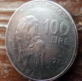 100 Лир, 1979 года, Италия, Монета, Монеты, 100 Lire1979, Italiana,Italy, FAO, Fauna, Фауна, Cow with a calf,Корова с теленкомна монете, Дівчина з кіскою, Girl with a pigtail,Девушка с косичкой на монете.