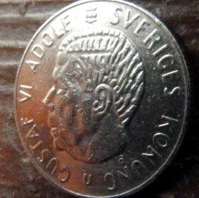 1 Крона, 1973 года, Швеция, Монета, Монеты, 1 Krona1973, Sverige, Sweden,Crown,Корона,Coat of Arms, Герб на монете,КорольГустав VI Адольф на монете.