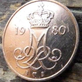 5 Эре, 1980года, Дания, Монета, Монеты, 5 Ore 1980, Danmark, Crown,Корона,Monogram, ВензельКоролевы МаргретыII на монете.