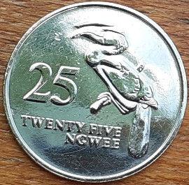 25 Нгве, 1992 года, Замбия,Монета, Монеты, 25 Twenty Five Ngwee 1992, Zambia,Фауна, Птах, Птах-носоріг, Fauna, Bird, Anthracoceros,Фауна, Птица, Птица-носорог на монете, Coat of arms of Zambia,Герб Замбиина монете.