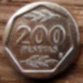 200 Песет, 1987 года, Испания, Монета, Монеты, 200Pesetas 1987, Espana,Spain,Флора,Гілки дерев,Tree branches, Ветви деревьев на монете,КорольХуан Карлос I на монете.