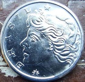 10 Сентаво,1978 года, Бразилия, Монета, Монеты, 10 Centavos 1978, Brasil,Industrial landscape,Индустриальный пейзажна монете,Дівчина, Girl,Девушка на монете.
