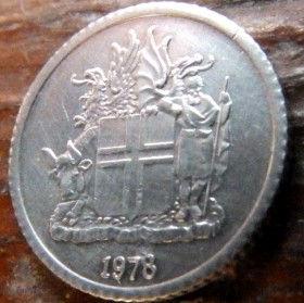 1 Крона, 1978 года, Исландия, Монета, Монеты, 1 Krona 1978, Island,Iceland, Flora,Флора,Листя, Leaf, Листья на монете, Герб,Coat of arms, Bull, Бык,Vulture,Гриф,Dragon, Дракон,Giant, Великан на монете.