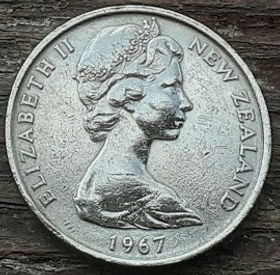 10 Центов/1 Шиллинг1967 года,Новая Зеландия, Монета, Монеты, 10 Cents/One Shilling1967, New Zealand,Maori mask,Маска Маори на монете, Королева Elizabeth II, Елизавета IIна монете, Второй портрет королевы.