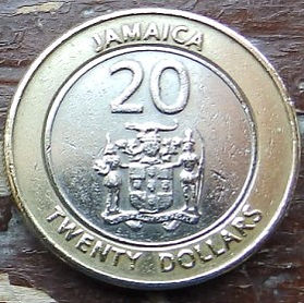 20 Долларов, 2000 года, Ямайка, Монета, Монеты, 20 Twenty Dollars 2000, Jamaica,Coat of arms ofJamaica, Герб Ямайкина монете, Marcus Garvey,Маркус Гарвина монете.