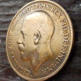 1 Пенни, 1921 года,Великобритания, Монета, Монеты, One Penny 1921, Море, Sea, Жінка воїн,Woman warrior, Женщина воин на монете, КорольGeorgivs V,Георг V на монете