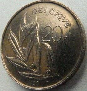 20 Франков, 1980 года, Королевство Бельгия, Монета, Монеты, 20 Francs 1980, Belgium, Belgique, Belgie,Рослинний орнамент,растительный орнамент,floral ornament,КорольБодуенIна монете.