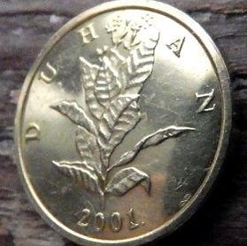 10 Лип, 2001 года,Хорватия,Монета, Монеты,10 Lipa2001, Republika Hrvatska, Coat of Arms,Герб,Flora, Флора,Linden leaves, Листья липына монете, Duhan,Тютюн, Tobacco,Табакна монете.