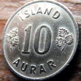 10 Эйре, 1953 года, Исландия, Монета, Монеты, 10 aurar1953, Island,Iceland, Flora,Флора,Листя, Leaf, Листья на монете, Герб,Coat of arms,Рослинний орнамент,растительный орнамент,floral ornamentна монете.