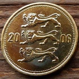 50 Сентов, 2006года, Эстония, Монета, Монеты, 50 Senti 2006, Eesti Vabariik,Coat of Arms,Герб,Fauna, Фауна,Lions, Львы на монете.