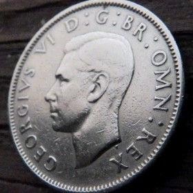 2 Шиллинга, 1947 года,Великобритания, Монета, Монеты, 2 Two Shillings 1947, Корона, Crown, Flora, Флора, Квіти, Flowers,Цветы на монете,КорольGeorgivs VI,Георг VI на монете.