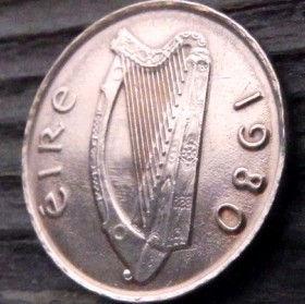1 Пенни, 1980 года, Ирландия, Монета, Монеты,Ireland, 1 P, Penny 1980, Eire,Bird, Птицана монете,Harp,Арфа на монете