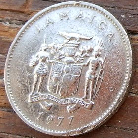 10 Центов, 1977 года, Ямайка, Монета, Монеты, 10 Ten Cents 1977, Jamaica,Landscape,Пейзажна монете, Coat of arms ofJamaica, Герб Ямайкина монете.