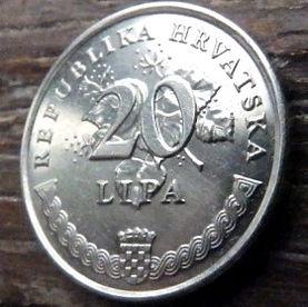 20 Лип, 1999 года,Хорватия,Монета, Монеты,20 Lipa1999, Republika Hrvatska, Coat of Arms,Герб,Flora, Флора,Linden leaves, Листья липына монете, Maslina,Гілка оливкового дерева,Olive,Ветвьоливкового деревана монете.