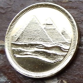 1 Пиастр, 1984 года, Египет, Монета, Монеты, 1 Piastre 1984,  Egypt,Піраміди, Pyramids,Пирамидына монете.