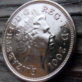 2 Пенса, 2001 года,Великобритания, Монета, Монеты, 2 Two Pence 2001, Корона, Crown,Пір'я,Feathers,Перья на монете, Королева Elizabeth II, Елизавета IIна монете, Четвертыйпортрет королевы.
