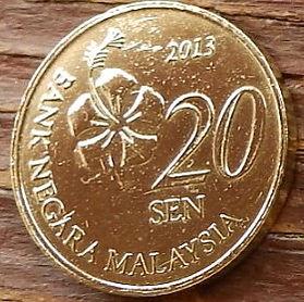 20 Сенов, 2013 года, Малайзия, Монета, Монеты, 20 Sen 2013, Malaysia, Квітка Гібіск, Flower Hibiscus, Цветок Гибискус на монете, Квіти Жасмину, Jasmine flowers, Цветы Жасмина на монете.