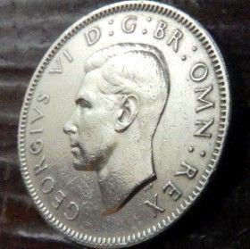 1 Шиллинг, 1948 года,Великобритания, Монета, Монеты, 1 Shilling1948, Корона, Crown, Fauna,Фауна, Lion, Лев,Sword,Меч,Скипетр,Scepter,КорольGeorgivs VI,Георг VI на монете.