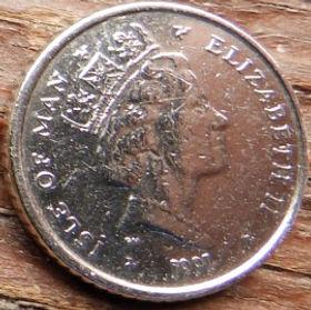 5 Пенсов, 1991 года, Остров Мэн, Монета, Монеты, 5 Pence 1990, Isle of Man, Спорт, Віндсерфинг, Sports, Windsurfing, Спорт, Виндсерфинг на монете, Королева Elizabeth II, Елизавета II на монете, Третий портрет королевы.
