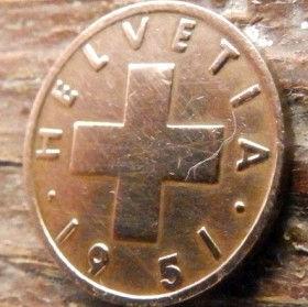1 Раппен,1951 года, Швейцария,Монета, Монети,1 Rappen 1951, Helvetia, Швейцарія, Switzerland,Spikelet, Колосок на монете, Coat of arms,Герб на монете.