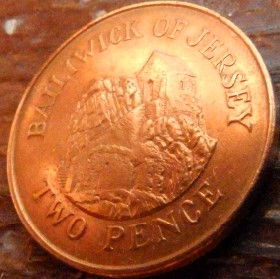 2 Пенса, 1992 года, Джерси, Монета, Монеты, 2 Two Pence 1992, Jersey,Будинок на скелі,House on the rock,Дом на скале намонете,Королева Elizabeth II, Елизавета IIна монете, Второй портрет королевы.