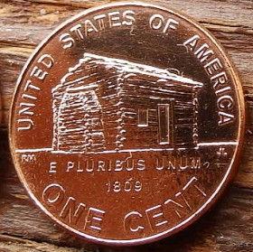 1 Цент, 2009 года,Соединенные Штаты Америки, Монета, Монеты, 1 One Cent 2009,The United States of America,Lincoln Childhood House, Дом детства Линкольнана монете, President Abraham Lincoln, Президент Авраам Линкольнна монете.