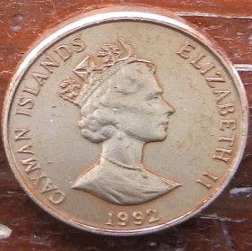 1 Цент, 1992 года, КаймановыОстрова, Монета, Монеты, 1 One Cent1992, Cayman Islands,Фауна, Птах,Fauna, Bird, Фауна,Птица на монете,Королева Elizabeth II, Елизавета IIна монете, Третий портрет королевы.