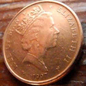 1 Пенни, 1997 года, Остров Мэн, Монета, Монеты, 1 OnePenny 1997, Isle of Man,Рослинний орнамент,растительный орнамент,floral ornament,М'яч для регбі,Rugby ball,Мяч для регбина монете,Королева Elizabeth II, Елизавета IIна монете, Третий портрет королевы.